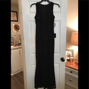 MARINA black V Neck sleeveless Lace Sequin gown